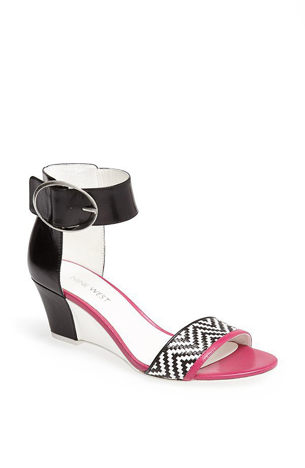 Nine West Venchie black and white zigzag wedge sandals ($79)