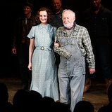 Leighton Meester and Jim Norton took a bow on Wednesday during the first curtain call for their Broadway play, Of Mice and Men.
