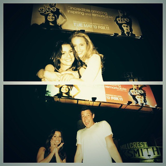 Lea Michele shared a sweet throwback photo of her late boyfriend, Cory Monteith, and Dianna Agron in front of a Glee billboard back in 2009. Source: Instagram user msleamichele