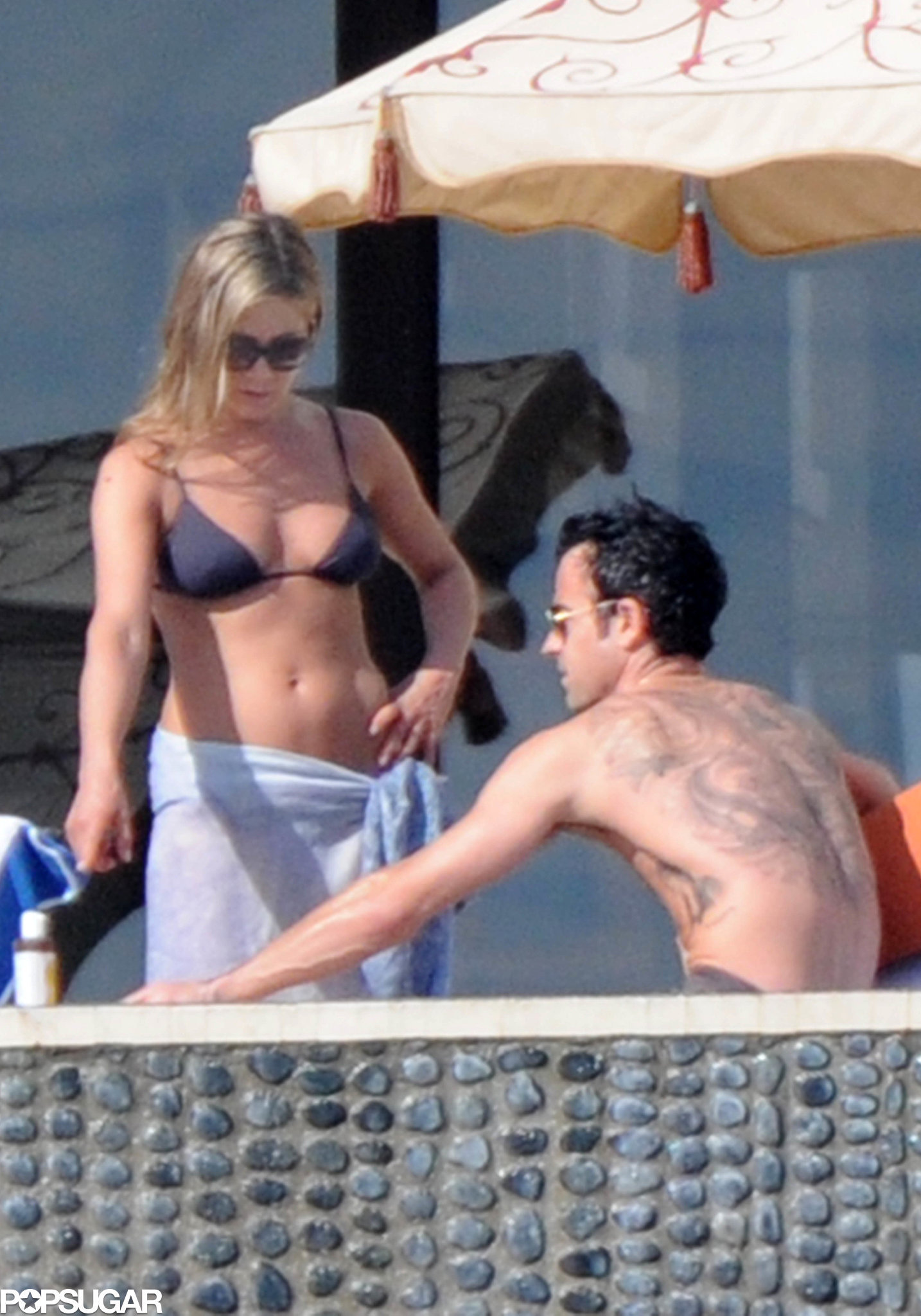 Jennifer Aniston and Justin Theroux soaked up the sun in Cabo in December 2012.