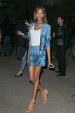 The matched suit doesn't look so boring in a bold print, as shown by Jourdan Dunn in Paris.