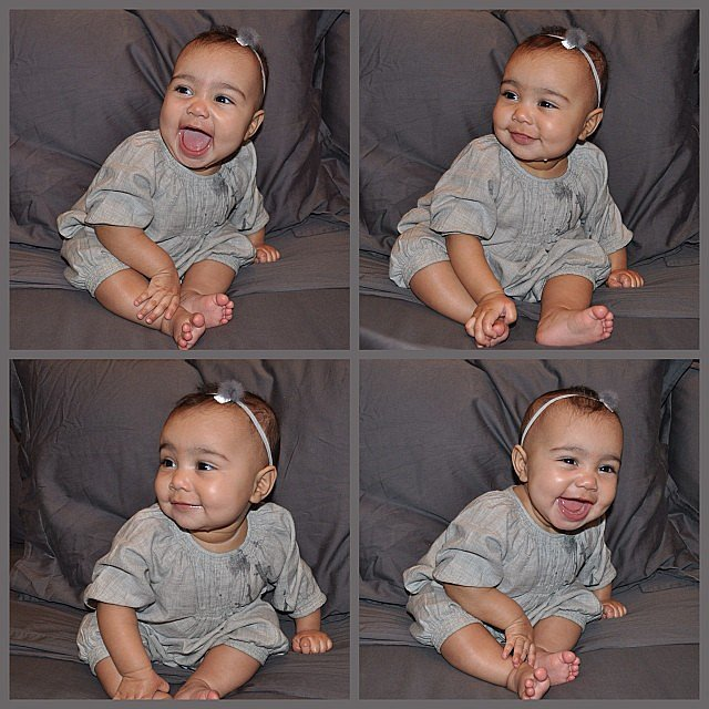 North showed off a smile — and cute headband — in these snaps from January.  Source: Instagram user kimkardashian