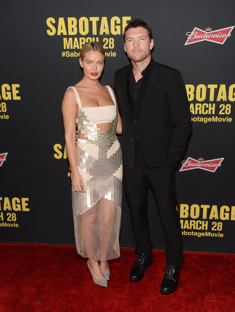 Lara (in cut-out Dion Lee) supported Sam at the LA premiere of his movie Sabotage in March 2014.