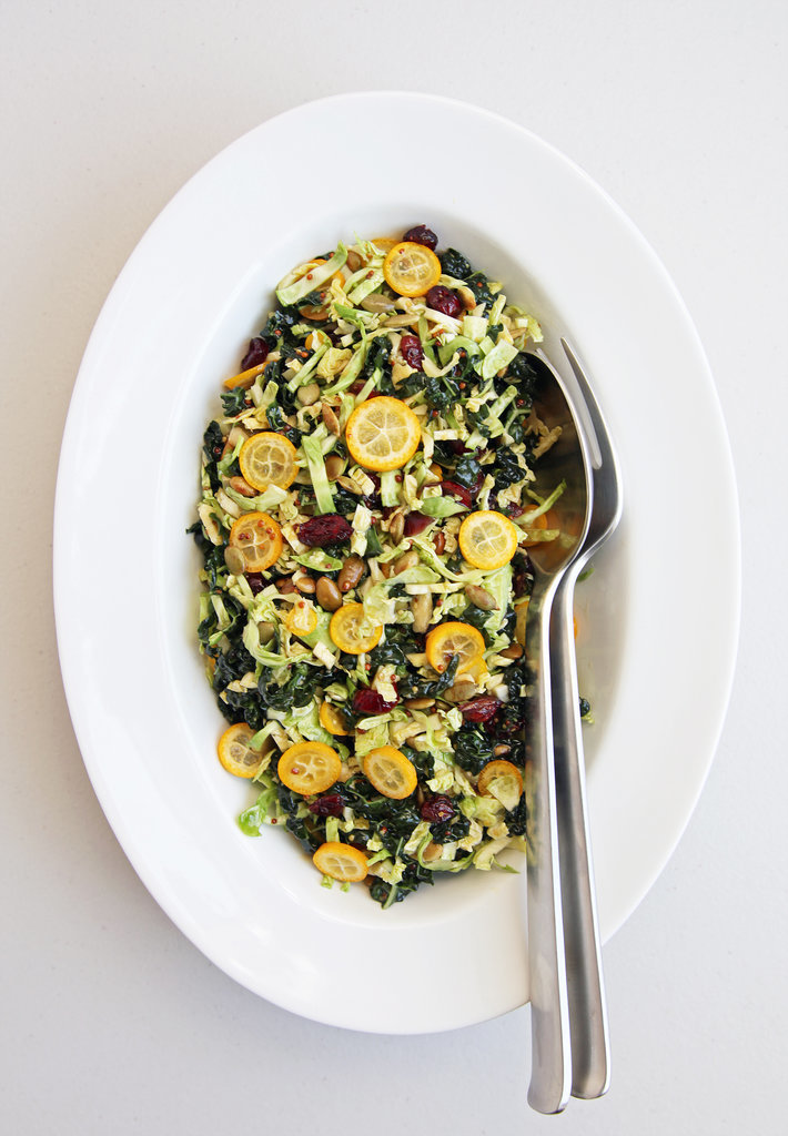 Shredded Brussels Sprouts and Kale With Kumquats and Tamari Pepitas