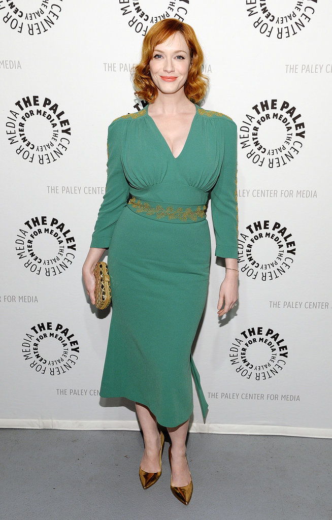 Christina Hendricks wore a green ensemble.