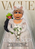 "Not even a full day after Vogue revealed its cover image, Disney released a parody starring Kermit the Frog and Miss Piggy. ""Kermiggy,"" as Disney calls the couple, copied Kim and Kanye's poses, but that's pretty much where the similarities stop. Most noticeably, Disney's mock-up is titled ""Vague."" The cover text also describes the famous duo as the ""#universesmosttalkedaboutcouple,"" topping Vogue's ""#worldsmosttalkedaboutcouple"" hashtag headline.  Source: Disney"