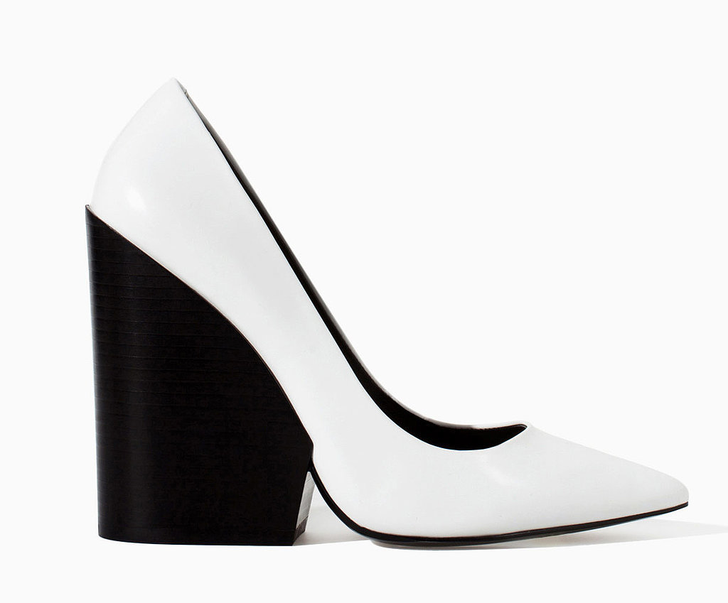 Zara black and white pointy-toe wedge heels ($129)