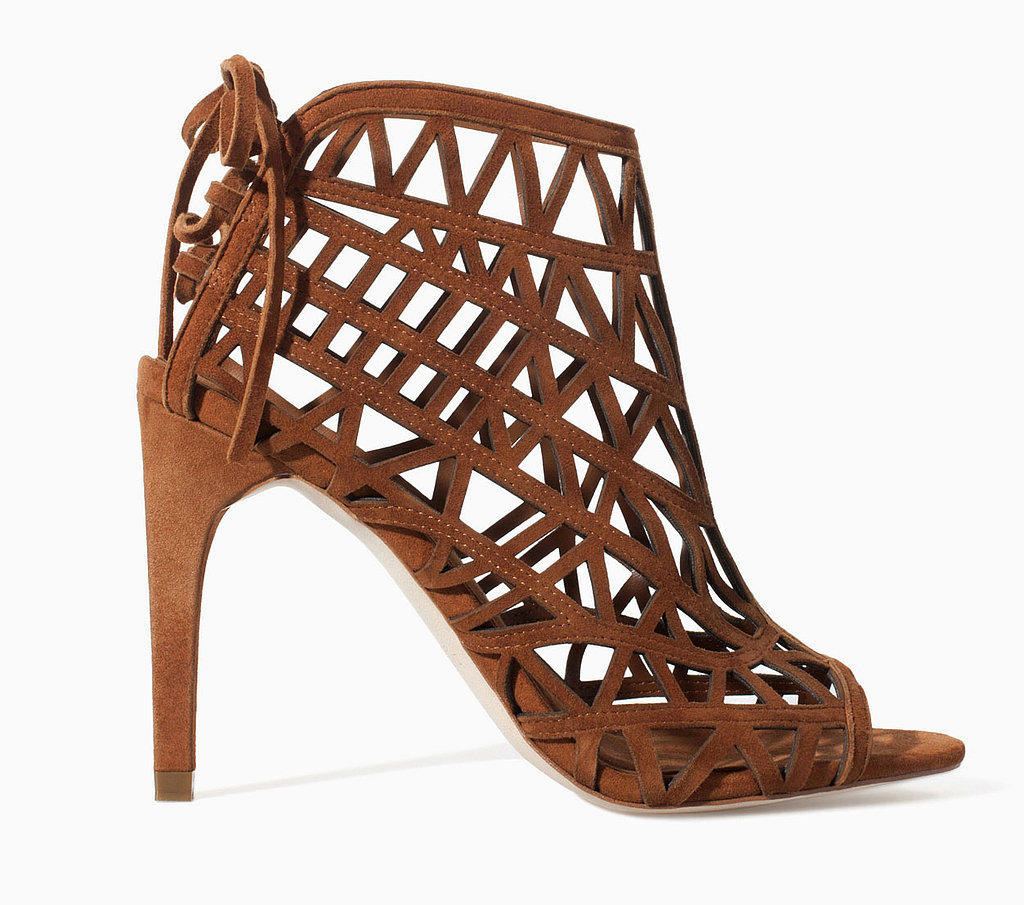 Zara lattice brown suede lace-up heel booties ($100)