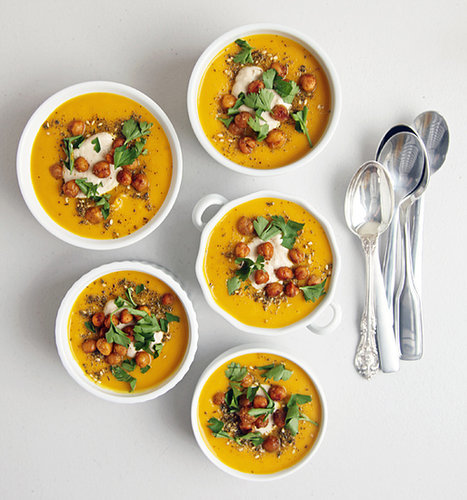 Spiced Carrot Soup With Roasted Chickpeas and Tahini
