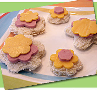Flower Ham and Cheese Sandwiches
