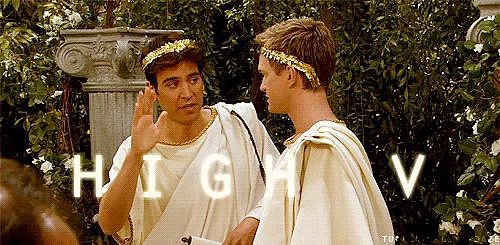 "Or a throwback ""High V"" in togas."