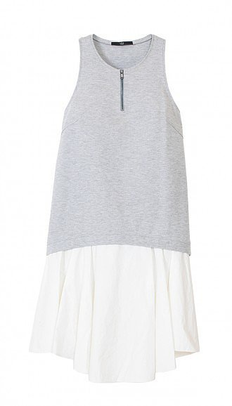 Tibi Italian ponte gray and white dress ($385)
