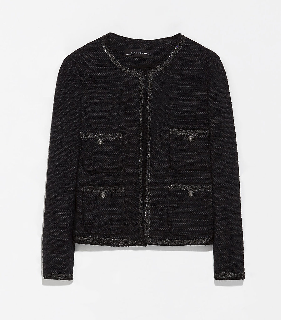 Zara dark navy tweed jacket ($159)