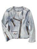 Gap 1969 collarless bleached denim biker jacket ($90)