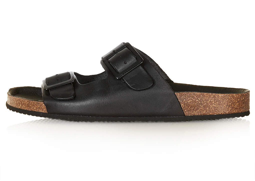 Topshop black leather double-strap cork flat sandals ($65)