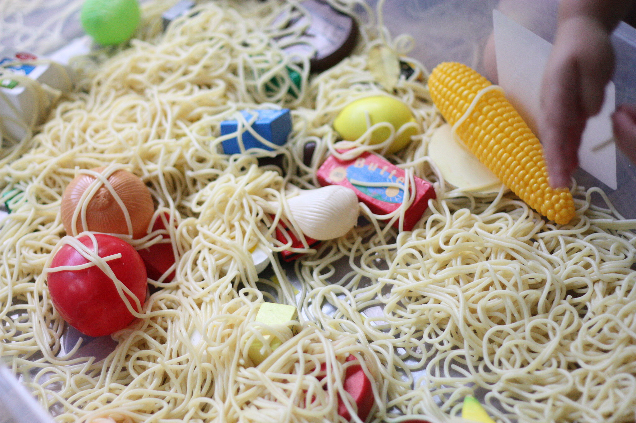 Cloudy With a Chance of Meatballs Sensory Bin