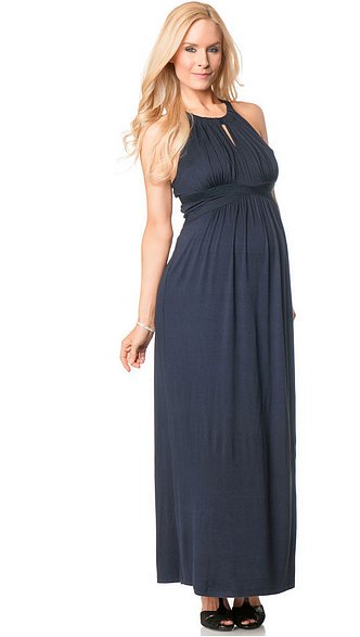 Sleeveless Braided Strap Maternity Maxi Dress