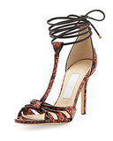 Jimmy Choo Motive Snakeskin Wrap Sandals ($995)