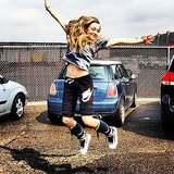 Amanda Seyfried jumped around. Source: Instagram user mingey