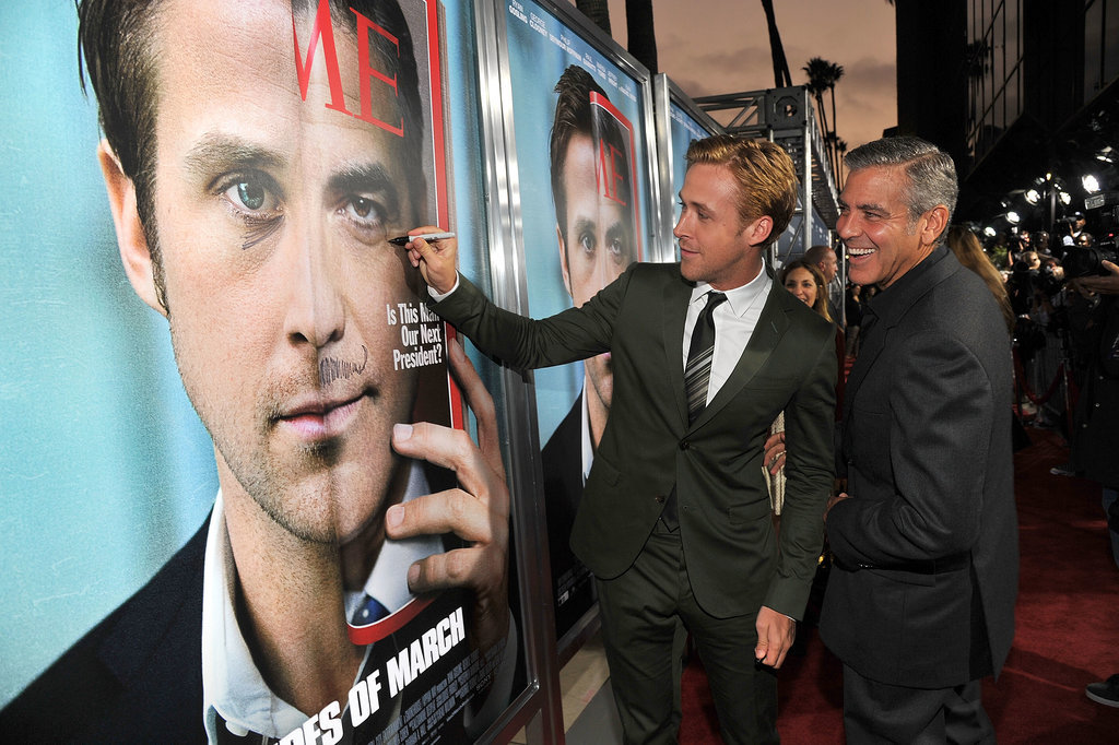 He's really a kid at heart, as seen here with his Sharpie work on George Clooney's face.