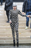 Lady Gaga in Harlequin Versace Jumpsuit in Paris in 2014