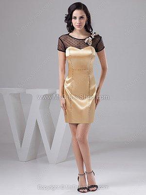Sheath/Column Scoop Satin Tulle Short/Mini Bow Cocktail Dresses