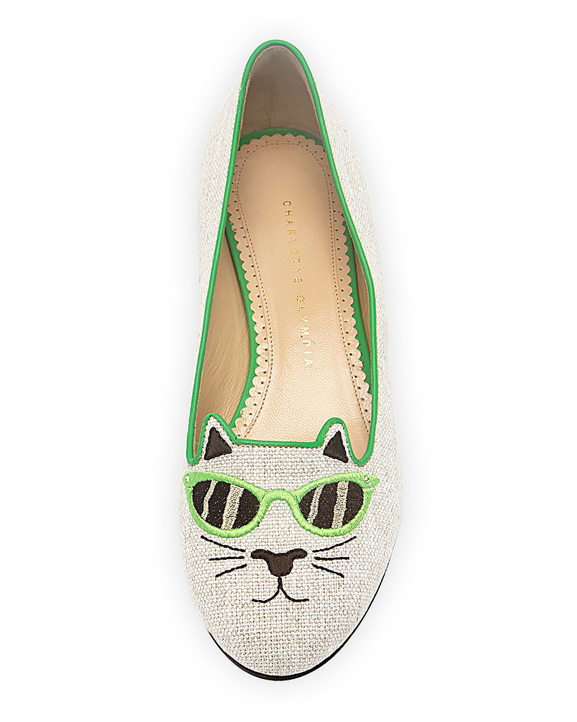 Charlotte Olympia Sunkissed Kitty Canvas Flat in Green ($695)