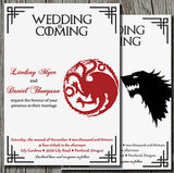 Give your wedding the Game of Thrones treatment right from the start with this standout wedding invitation ($15 for digital file).