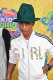 Pharrell Williams wore a green version of his famous hat!