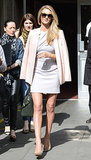 Rosie Huntington-Whiteley flashed a smile outside of London's Vogue Festival on Sunday.