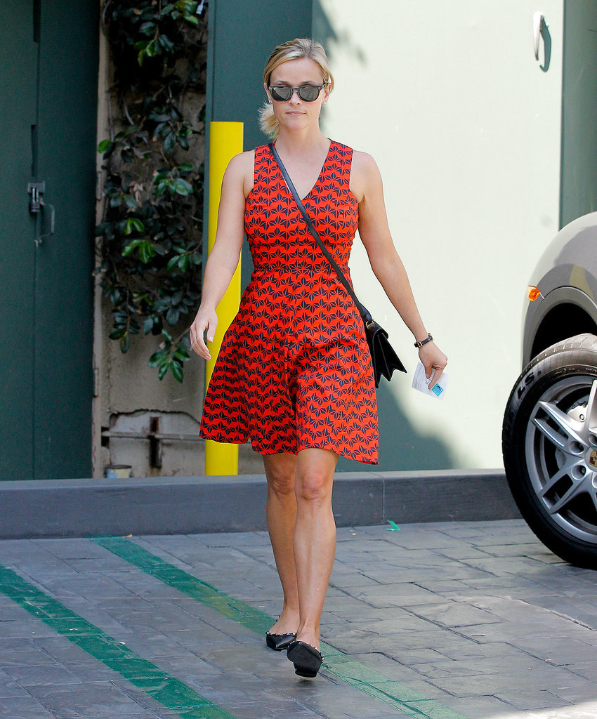 Reese Witherspoon in Red 10 Crosby Derek Lam Dress and Studded Valentino Flats