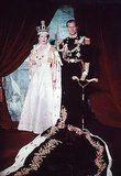 Queen Elizabeth and Prince Philip posed for a traditional coronation portrait as well.  Source: Photo courtesy of The British Monarch