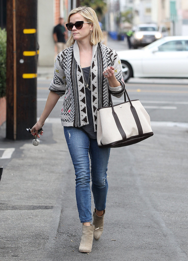 Reese Witherspoon in Tribal Cardigan and Suede Ankle Boots