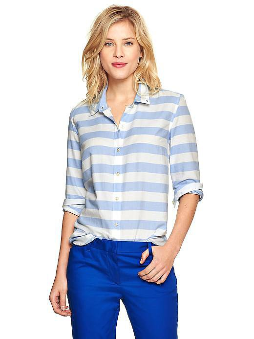 Gap Thick Blue-and-White Stripe Oxford Shirt
