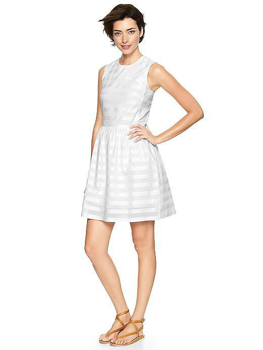 Gap Silver-Stripe Dobby Fit-and-Flare Dress