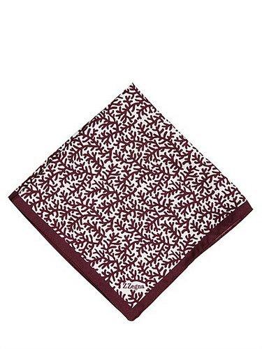 Zzegna - Coral Printed Silk Pocket Square