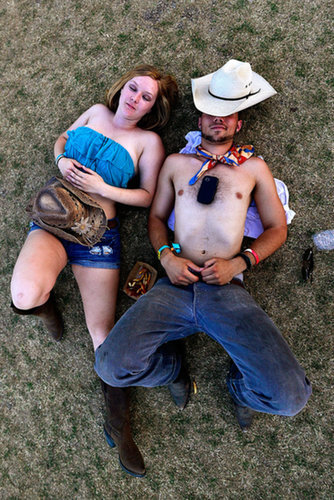 A couple rested together at Stagecoach.