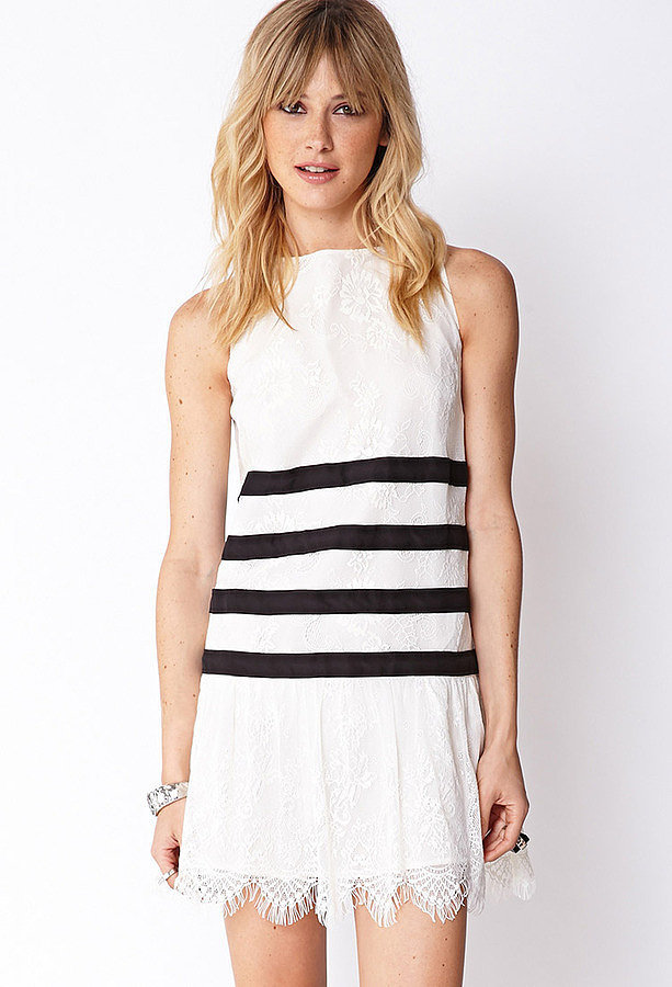 Forever 21 Black and White Striped Lace Dress