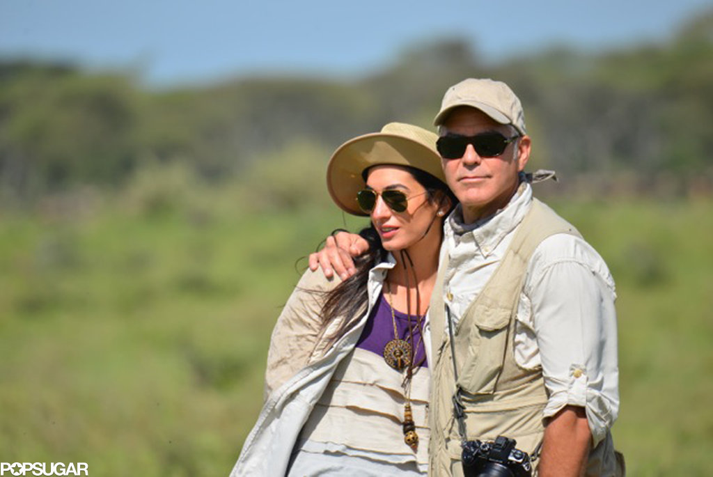 George showed PDA with Amal on a safari.