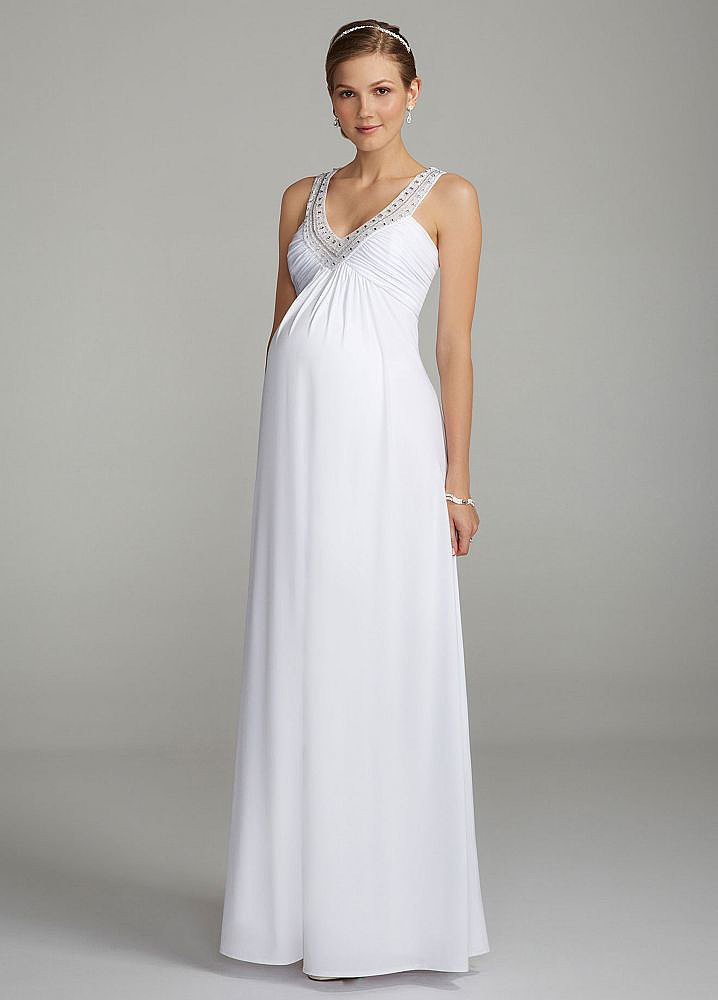David's Bridal Halter Maternity Gown