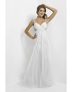 2014 White Full Length Beaded Straps Open Back A Line Chiffon Prom Dresses