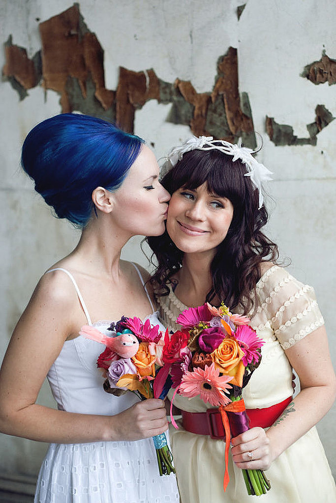 Take a scroll through Pinterest and you'll see a lot of the same wedding hairstyles: subdued curls, sophisticated chignons, and page after page of baby's breath. Now this may work for a bevy of classic brides, but some ladies about to walk down the aisle are looking for something with a bit more spunk. Behold: POPSUGAR Beauty's collection of edgy hairstyles — and not a french twist in sight.  Photo by Arrow & Apple via Style Me Pretty