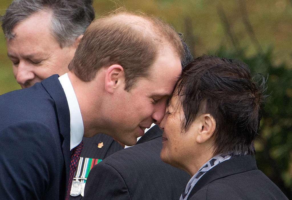 Prince William also got in on the hongi tradition on April 7.