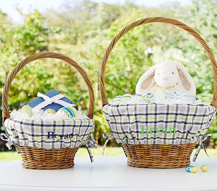 Navy and Green Plaid Easter Basket Liners and Baskets
