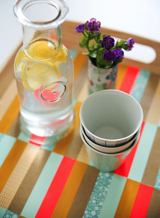 Whether it's a brunch or cocktail party, serve your guests in style with this DIY tray. We love how you can customize it to your party's colors too. Photo by Fellow Fellow via Say Yes to Hoboken