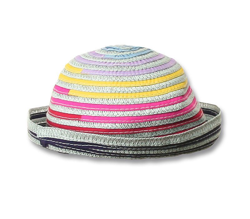 Rainbow-Stripe Straw Hat