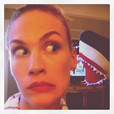 January Jones had this encounter with a shark puppet. Source: Instagram user januaryjones