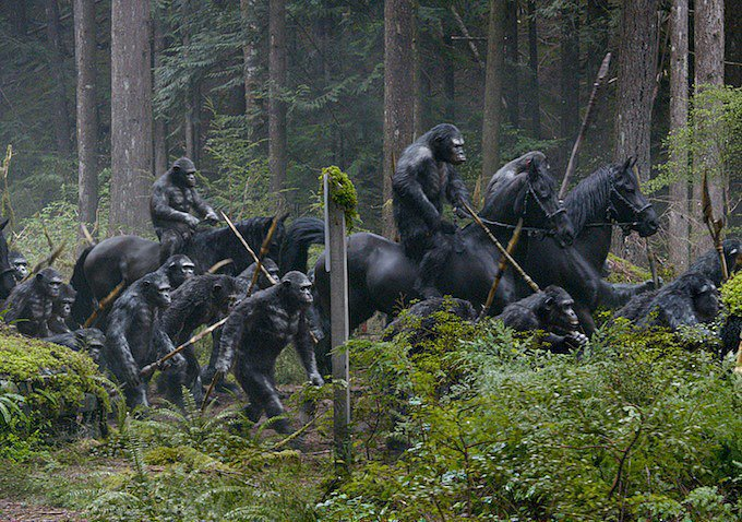 Also, the apes are terrifying and they ride horses.