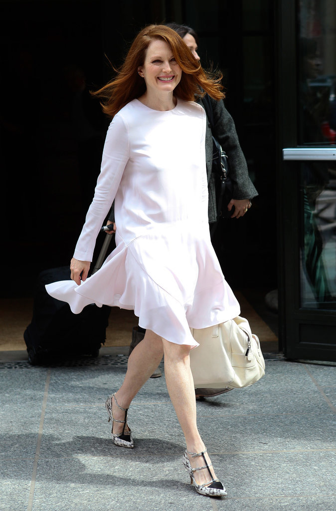 On Tuesday, Julianne Moore flashed a smile in NYC while running errands.