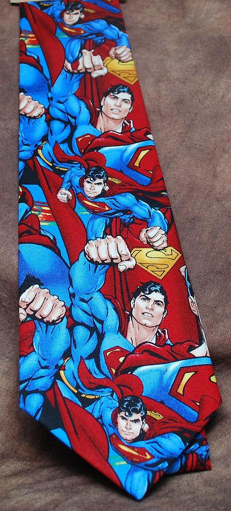"<a href=""https://www.etsy.com/listing/174084824/jumbled-superman-neck-tie"">Superman Tie</a> ($33)"